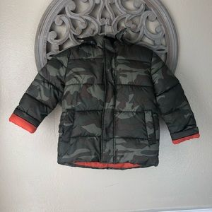 Faded Glory camo and orange puffer jacket